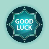 Good Luck magical glassy sunburst blue button sky blue background. Good Luck Isolated on magical glassy sunburst blue button sky blue background stock image