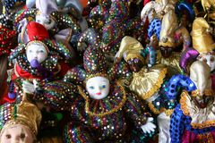 Good Luck Mardi Gras Dolls. A group of good luck Mardi Gras dolls at the French Market in New Orleans, Louisiana