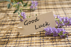 Good luck. Message written on a Looking Label on mat Royalty Free Stock Photos