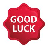 Good Luck misty rose red starburst sticker button royalty free illustration