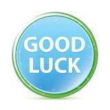 Good Luck natural aqua cyan blue round button royalty free illustration