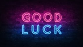 Good luck neon sign, great design for any purposes. 3d render. Modern design. Retro emblem design. Slot neon sign. Decoration. Good luck neon sign, great design royalty free illustration