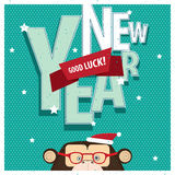 Good Luck New Year with monkey Royalty Free Stock Photo