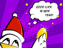 Good luck in New Year. Vector card with rooster in Santa hat, egg and greeting text. Royalty Free Stock Photo