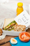 Good luck note in lunchbox Stock Photo