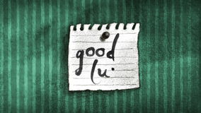 Good Luck Note on a wall. Animated Good Luck Note on old striped vintage wallpapers, hand drawn artwork and calligraphy in retro style