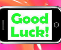 Good Luck On Phone Shows Fortune And Lucky Royalty Free Stock Image