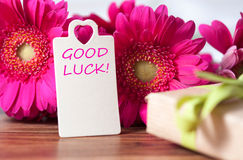 Good luck. Pink flowers and card with lettering good luck royalty free stock photo