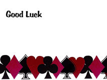 Good luck with playing cards. A background image with the cards suits and the words good luck stock illustration