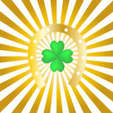 Good luck. Postcard with horseshoe and clover Royalty Free Stock Photography