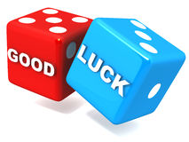 Good luck. On rolling dice, white background, concept of gambling with luck royalty free illustration