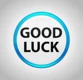 Good Luck Round Blue Push Button stock illustration