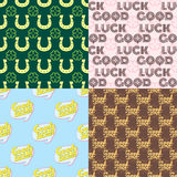 Good luck seamless pattern farewell vector lettering with lucky phrase background greeting typography. Vintage word decorative symbol inscription expression Stock Photos