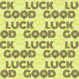 Good luck seamless pattern farewell vector lettering with lucky phrase background greeting typography. Vintage word decorative symbol inscription expression Stock Images