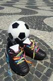 Good Luck Soccer Football Boots Brazilian Wish Ribbons Stock Images