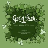 Good Luck special offer sale calligraphy logo on green paper cut clover background stock illustration