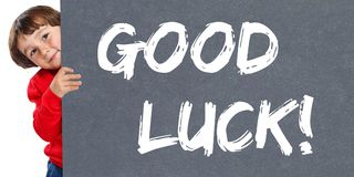 Good luck success successful test wish wishing child kid young l. Ittle boy isolated on a white background Royalty Free Stock Images