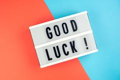 Good luck -  text on a display lightbox Stock Photos