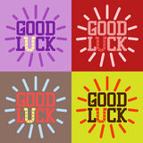 Good luck text farewell vector lettering with lucky phrase background greeting typography. Royalty Free Stock Images
