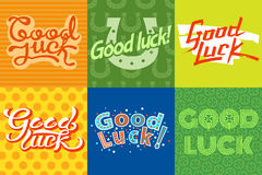 Good luck text farewell vector lettering with lucky phrase background greeting typography. Royalty Free Stock Photo