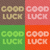 Good luck text farewell vector lettering with lucky phrase background greeting typography. Stock Images