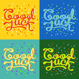 Good luck text farewell vector lettering with lucky phrase background greeting typography. Stock Photography