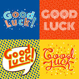 Good luck text farewell vector lettering with lucky phrase background greeting typography. Royalty Free Stock Photography
