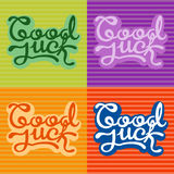 Good luck text farewell vector lettering with lucky phrase background greeting typography. Royalty Free Stock Image