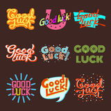 Good luck text farewell vector lettering with lucky phrase background greeting typography. Royalty Free Stock Photos