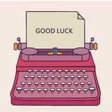 Good luck type writer thin line style illustration Royalty Free Stock Photography