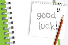 Good luck word on note paper Royalty Free Stock Photos