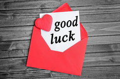 Good luck word. On white paper royalty free stock photos