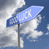 Good luck words on Blue Road Sign Stock Images
