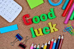 Good luck words on cork. Background royalty free stock image