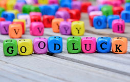 Good Luck words on table. Good Luck words on wooden table royalty free stock photo