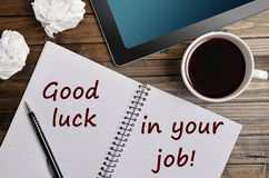 Good luck in your job text Royalty Free Stock Photo