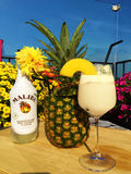 A good Malibu cocktail with Pineapple. A portrait with a pineapple,flowers and Malibu Rum Royalty Free Stock Images