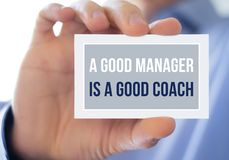 A good manager is a good coach. Quote royalty free stock images