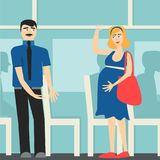 Good manners. the man on the bus gives way to the pregnant lady.etiquette. royalty free illustration