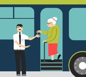 Good manners.old woman in the bus.to give hand to old woman.tired woman and man. Retired man in the bus.to give way to an elderly person Royalty Free Illustration