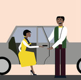 Good manners. open the door for woman in the car. etiquette. elegant woman. Good manners. open the door for woman in the car. etiquette Vector Illustration