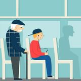 Good manners.retired man in the bus.to give way to an elderly person.tired man and young boy with player. Retired man in the bus.to give way to an elderly person Vector Illustration