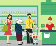 Good manners.retired woman in the supermarket.to give way to an elderly person.supermarket cashier. The queue at the store Royalty Free Illustration