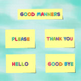 Good manners written on yellow paper notes Royalty Free Stock Photos