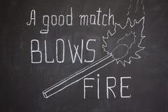 A good match blows fire Stock Photo