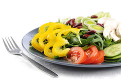 A good mixed salad on a blue plate Stock Images