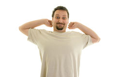 Good mood. Portrait of a man in pajama Stock Photography
