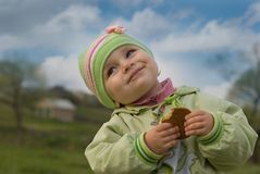 Good mood. Children very much love sweets Royalty Free Stock Photos