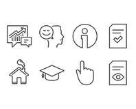 Good mood, Checked file and Graduation cap icons. Hand click, Accounting and View document signs. Set of Good mood, Checked file and Graduation cap icons. Hand Stock Images