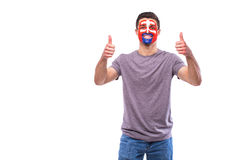 Good mood of Slovak football fan in game support of Slovakia national team Stock Photos